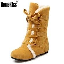 Tamaño 30-52 Rusia Mujeres Ronda Toe Aumento de la Altura Botas de Becerro Mediados de Mujer Correa Cruzada de Piel Caliente Invierno Medio zapatos Calzado