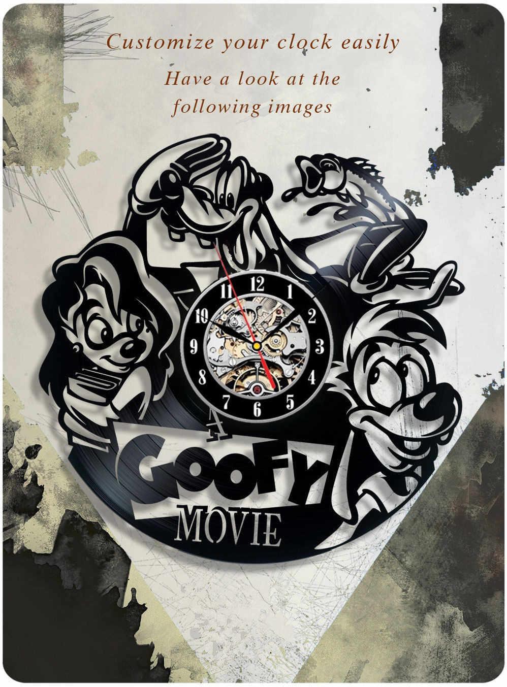"דבילי סרט ויניל שעון, פוקהונטס, אלדין דקורטיבי ויניל ויניל שעון שיא שעון קיר דקור אמנות ייחודית Clock12 ""(30 ס""מ)"