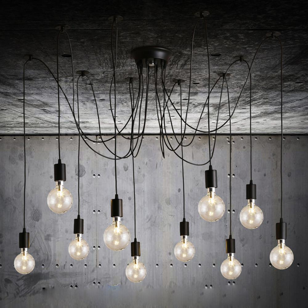 novelty araign e 10 bras edison ampoule pendentif lumi re industrielle vintage loft lampe. Black Bedroom Furniture Sets. Home Design Ideas
