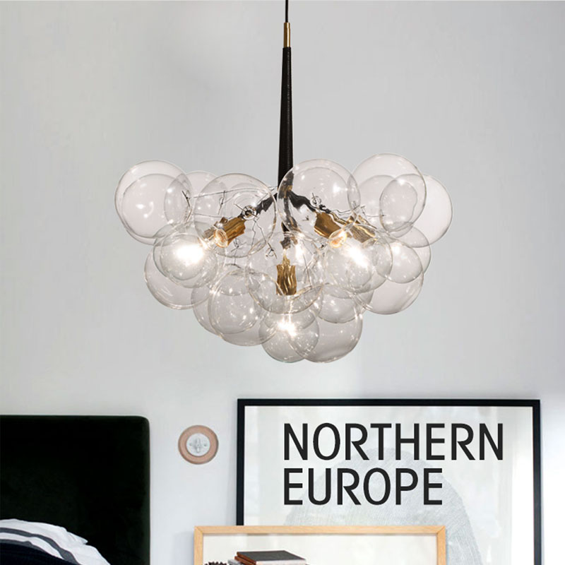 New Nordic Vintage Loft 9/12/18 Heads Bulbs DNA bubble glass ball pendant light fixture Magic Bean  bar cafe indoor lighting loft vintage edison glass light ceiling lamp cafe dining bar club aisle t300