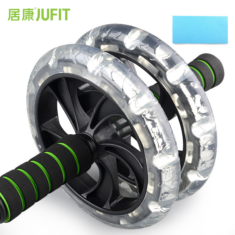JUFIT No Noise Abdominal Wheel Double-Wheeled Ab Roller Trainer Fitness Equipment Gym Exercise Men Body Building