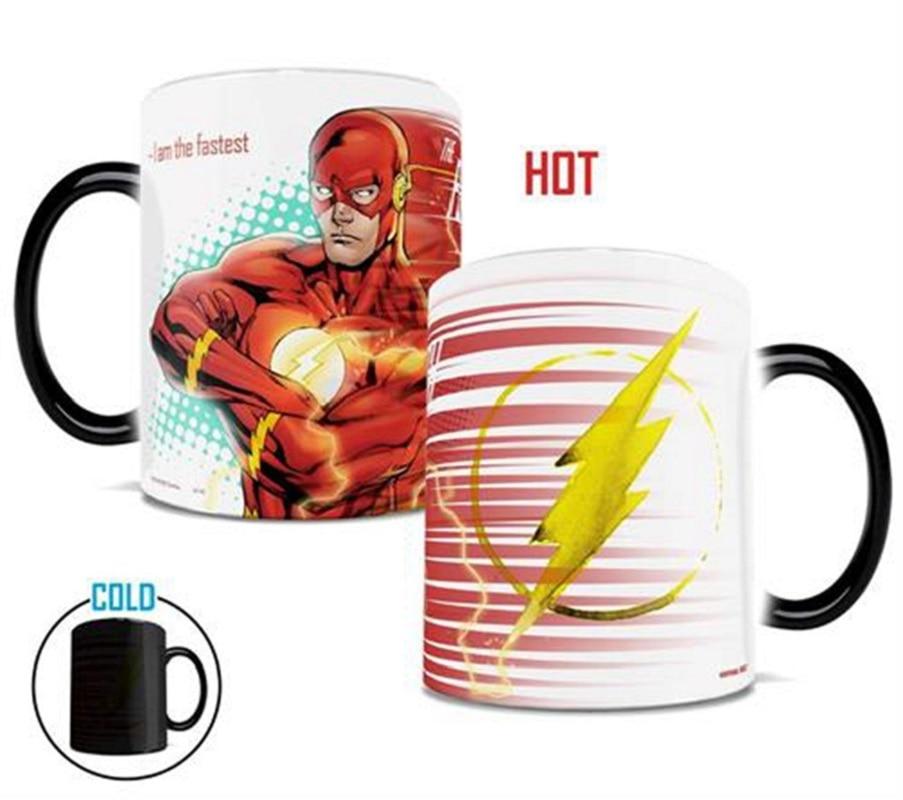 Superhero Flash Man Mug Cartoon Magic Mug Heat Sensitive Color Change Coffee Mug Ceramic Milk Mug Home Office Cup Kids Gift