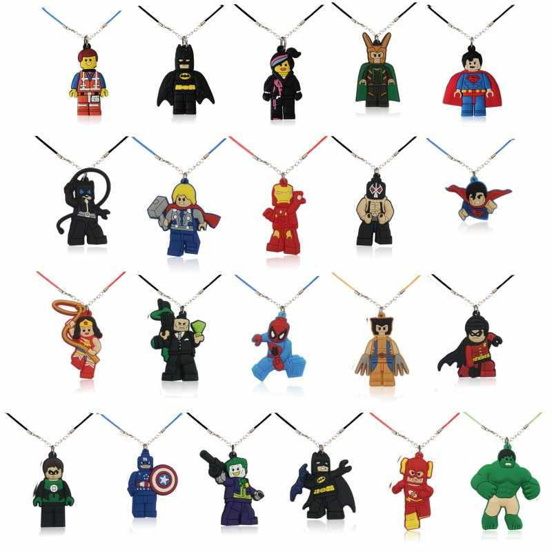1pcs Super Hero Batman Hulk Superman Cartoon Figure Necklace PVC Pendant Chokers Rope Chain Kids Party Gift Accessory Jewelry