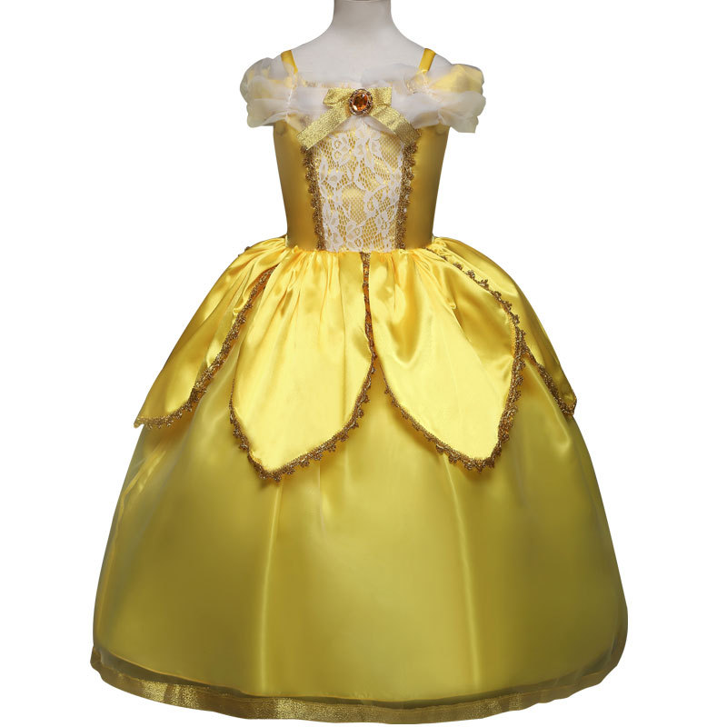 Kids Carnival Clothing Beauty And The Beast Bella Princess Cosplay Costumes Girl Christmas Halloween Party Long Dresses Children in Girls Costumes from Novelty Special Use
