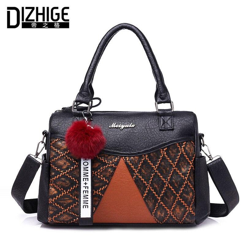DIZHIGE Brand Thread Shoulder Bags Luxury Handbags Women Bags Designer Fur Ball Ladies Hand Bags Tote PU Leather Bags Women 2018
