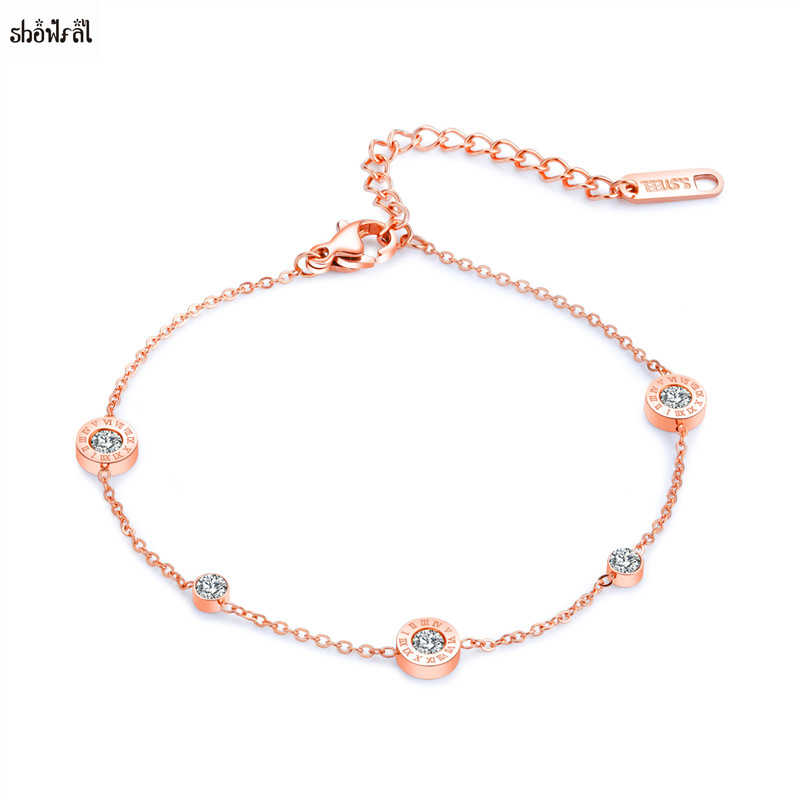 Bulgaria Anklet Bracelet Jewelry Roman Number Pendant Round Zirconia Stones Beach Bohemian Anklets for Women Foot Jewelry Summer