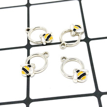 10pcs Bees Insect Enamel Charms Silver Gold Metal Pendants Floating Earring Bracelets DIY Jewelry Accessories YZ316