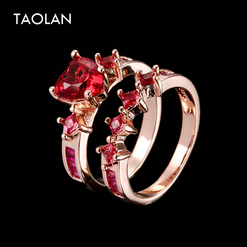 TAOLAN New Rose Gold 2 Pieces Rings Set for Women Luxury Simulated Gemstone Wedding Jewelry for Lover Couple L015