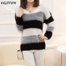 Autumn winter New Thick Korean Loose Thin Soft Mohair Head Striped  Bottoming Pullover Sweater Long ba59ddd9a