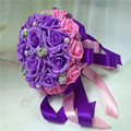 2017 Bridal Bridesmaid Wedding Bouquet Cheap New Romantic Purple&Pink Handmade Artificial Rose Wedding Flowers Bridal Bouquets