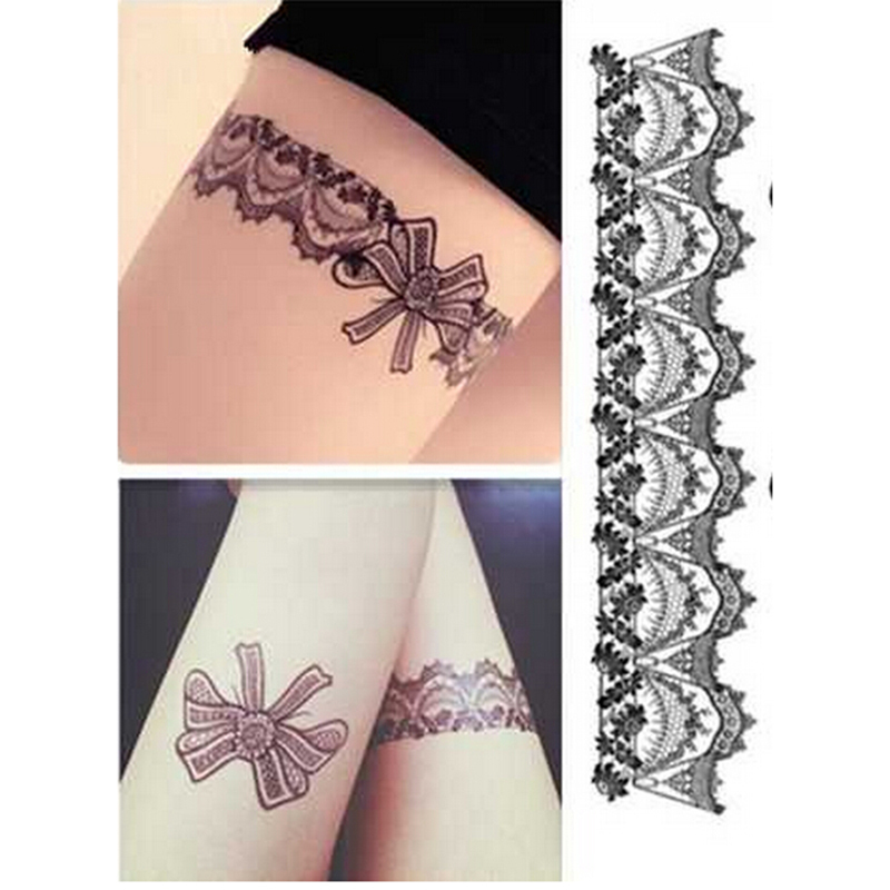 buy sexy stockings lace tattoo stickers temporary tattoo vintage tattoo leg. Black Bedroom Furniture Sets. Home Design Ideas