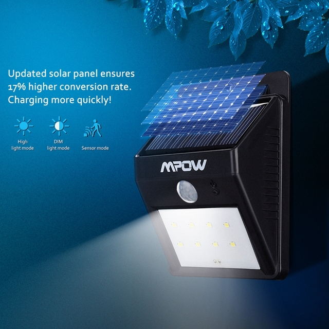 Mpow 1 Pack Solar Powerd Wireless LED Security Motion Sensor Light Outdoor Garden Lamp with Auto On/Off Functionfor Patio Garden