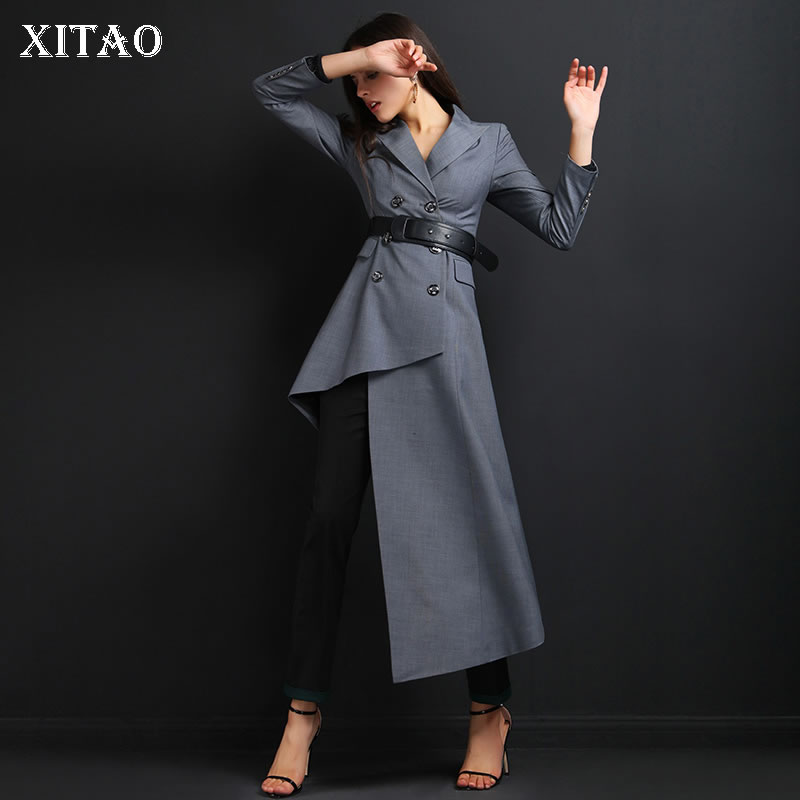 [XITAO] Long Women Fashion Double Breasted Asymmetrical Length Solid Color Turn-down Collar Casual Patchwork   Trench   DLL3059
