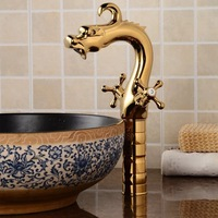 Free Shipping Brand New Bathroom Vessel Sink Basin Tap Faucet Dragon Mixer Single Lever Golden Cold