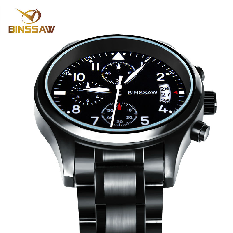 BINSSAW Men Luxury Brand Quartz Watch Stainless Steel Waterproof Luminous Sport Watches Top Fashion Business Relogio Masculino binssaw new men quartz stainless steel fashion business watch ultrathin gold china luxury brand gift watches relogio masculino