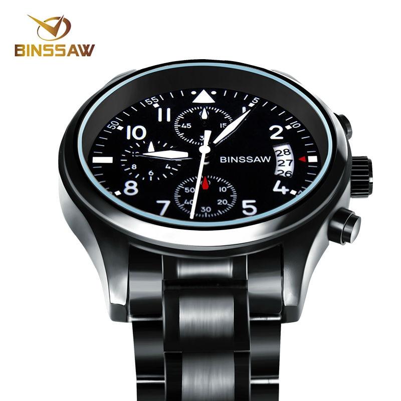 BINSSAW Men Luxury Brand Quartz Watch Stainless Steel Waterproof Luminous Sport Watches Top Fashion Business Relogio Masculino