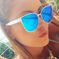 Cool Hip Hop Oversized Mirror Pink Sunglasses Cat Eye Fashion Women Men Sunglasses Female Shades Hipster