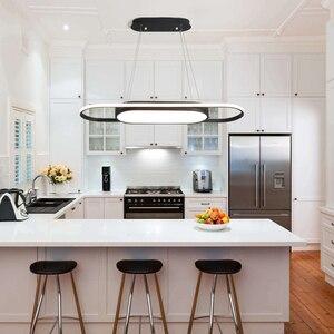 Image 4 - אורך 90cm תליית אורות לבן/שחור מודרני led אורות תליון עבור אוכל חדר Kitchent חדר בר תליון מנורה אור גופי