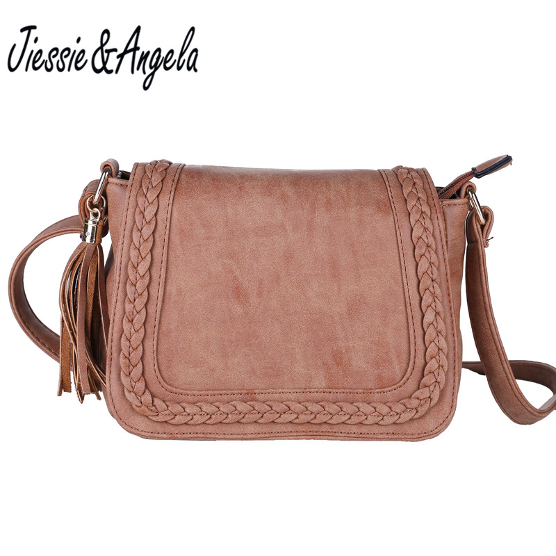 Jiessie & Angela New Vintage Shoulder Bags Women Messenger Bag PU Leather Handbag for Woman Fashion Designer Crossbody Shoulder new arrival messenger bags fashion rabbit fair for women casual handbag bag solid crossbody woman bags free shipping m9070