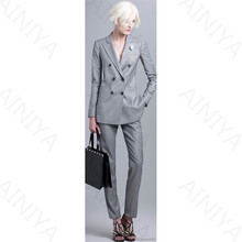 Hot Sale Womens Business Suits Light Gray Double Breasted Long Sleeve Female Trouser Suits 2 Piece Sets Office Uniform Style