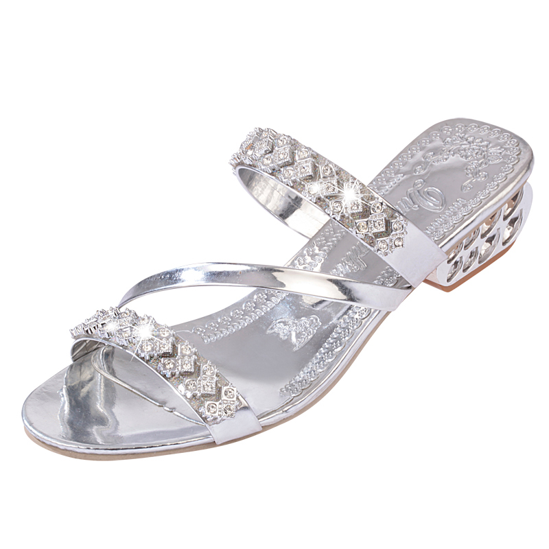 Lucyever women fashion crystals sandals 2018 summer comfortable heels beach flip flops casual solid thick heel slides slippers