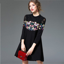 Plus Size 2017 Women dress Patchwork Loose Lace Embroidery Hollow Out Black Fat Butterflies Embroidered Mma Word Dresses 8195