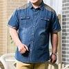8XL 7XL 6XL Men Jeans Shirt Cotton Thin Short Sleeve Denim Shirts Men S Single Breasted