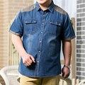 8XL 7XL 6XL Мужчин Джинсы Рубашка Хлопок Тонкий С Коротким Рукавом Джинсовой Рубашки мужская Однобортный Лоскутное Ковбойские Camisas Сорочку Homme