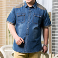 8XL 7XL 6XL Men Jeans Shirt Cotton Thin Short Sleeve Denim Shirts Men's Single Breasted Patchwork Cowboy Camisas Chemise Homme