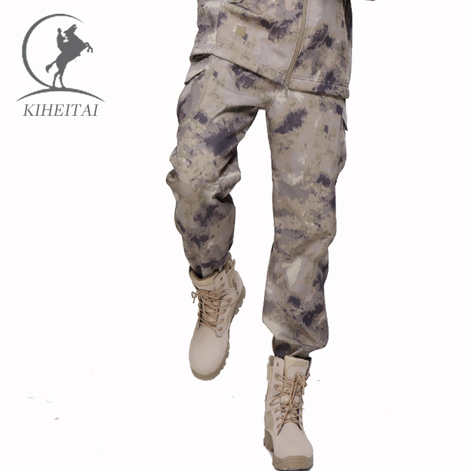KIHEITAI Military Tactical Pant Army Camouflage Cargo Pants Soft Shell Trousers For Men Thermal Fleece fatigues Pantalon Homme