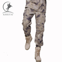 KIHEITAI Military Tactical Pant Army Camouflage Cargo Pants Soft Shell Trousers For Men Thermal Fleece Fatigues