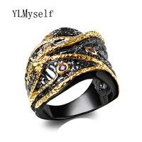 2017 el Último Diseño de Moda Negro anillos alibaba tienda pavimenta AAA Cubic Zirconia cobre Cóctel anillo de dedo para las mujeres