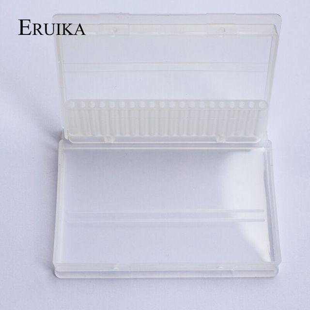 20 Slots Clear Nail Drill Bit Plastic Storage Box Holder Container Manicure Cutters Display Nail Accessorie 3