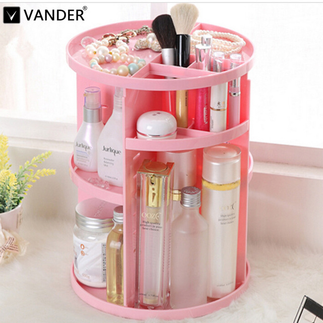 VANDER 360 Degree Rotating Cosmetic Storage Box Case ABS Plastic Makeup Jewelry Organizer Folding Makeup Storage Stand Holder