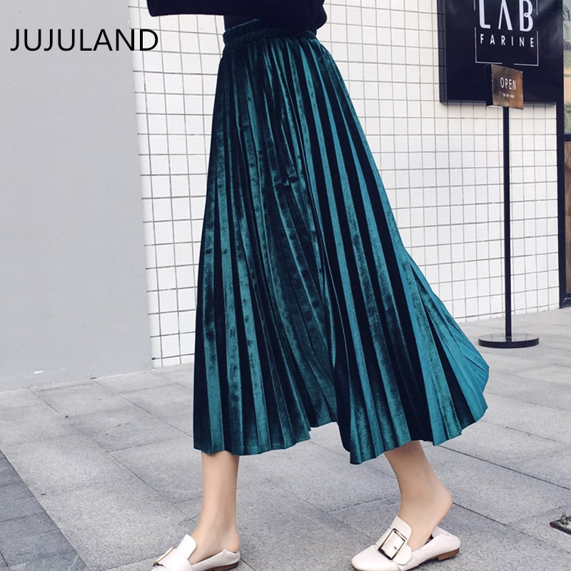 JUJULAND Velvet Skirt Pleated Skirts Womens 2018 New Spring Autumn Korean Style Casual Mid Calf Long Maxi Women Skirt Female
