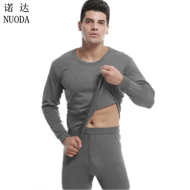 Men 's solid color thermal underwear round necklace Qiuyi Qiuku suit comfortable anti - pilling