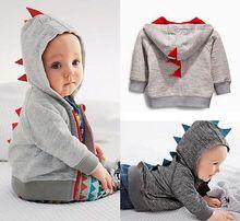 Toddler Baby Boys Cute Dinosaur Hooded Sweatshirt Tops Casual Sport Cotton Coats Jacket Age 0~3Y