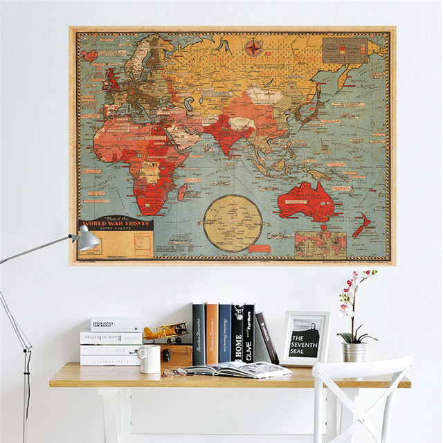 Vintage retro paper world map poster wall sticker living room vintage retro paper world map poster wall sticker living room bedroom office cafe restaurant wall decals gumiabroncs Gallery