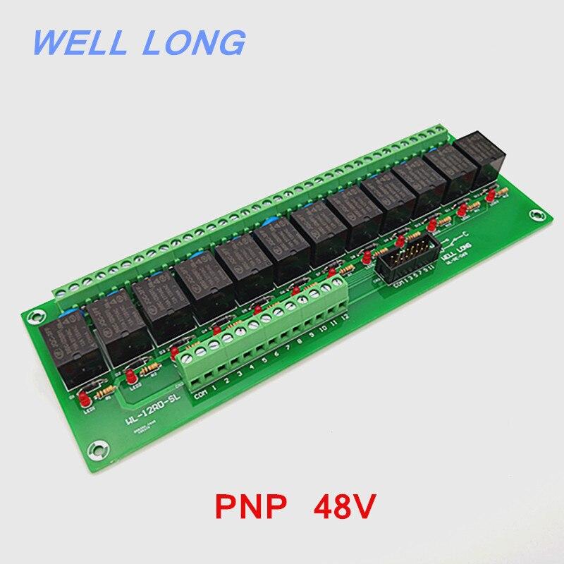 Module d'interface de relais de puissance de Type PNP 48 V 15A à 12 canaux, relais HF JQC-3FF-48V-1ZS.