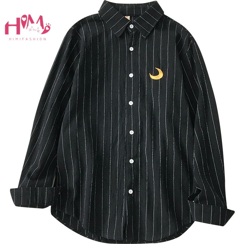 Street Funny Casual Striped Womens Blouses Vintage Harajuku Moon Embroidery Long Sleeve Button Down Shirts Front Pockets Tops