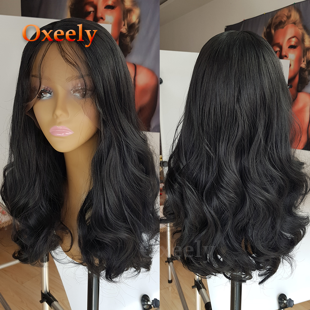 Body Wave Hair Black Color Synthetic Lace Front Wigs Natural Hairline Baby Hair Synthetic Lace Front Wigs for Beauty Women0