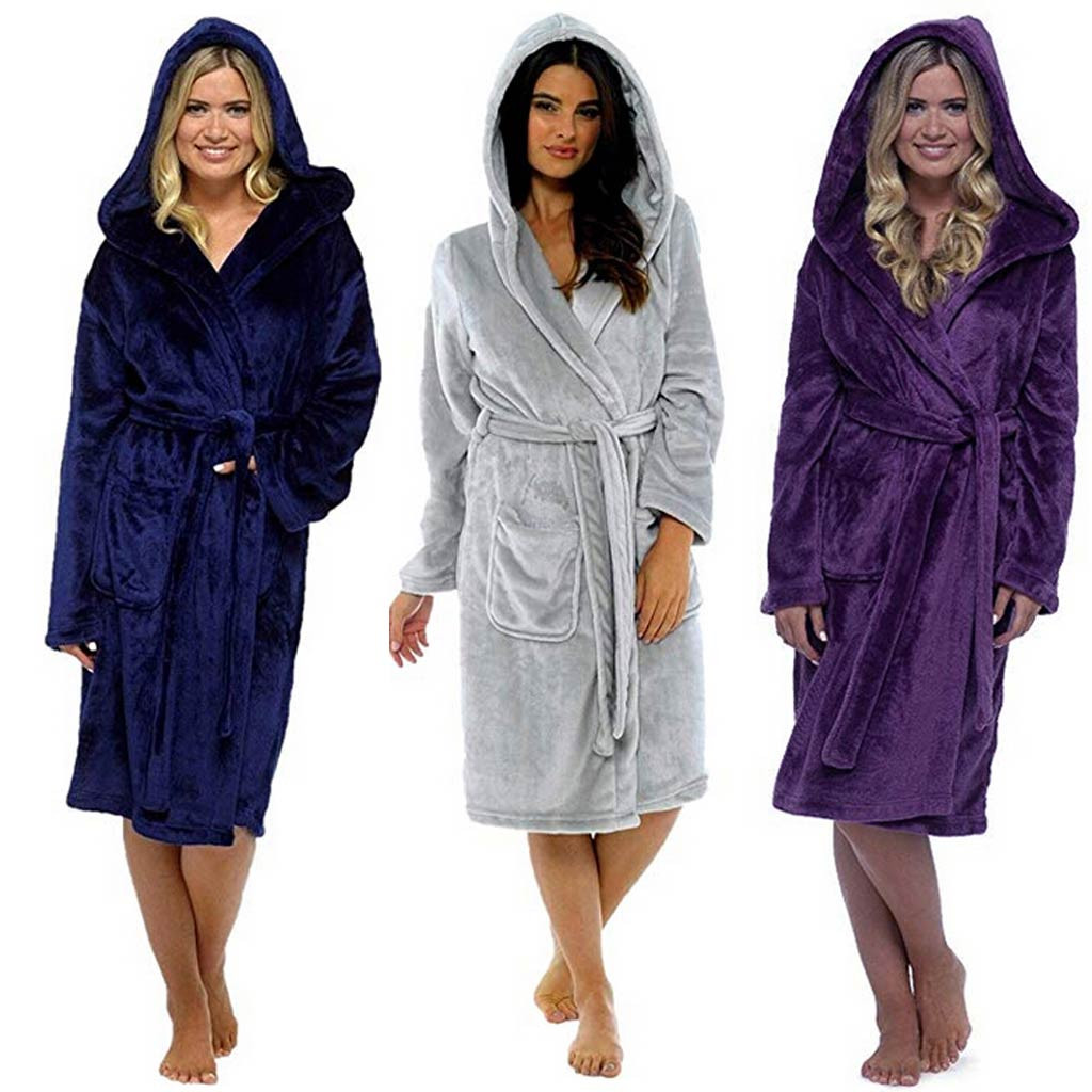 2019 Winter Robes Hooded Nighwear Plush Lengthened Shawl Bathrobe Home Clothes Long Sleeved Robe Coat Pijama Mujer #VC7