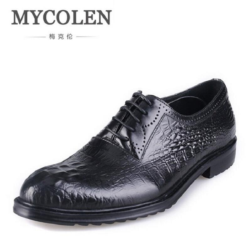 MYCOLEN Luxury Crocodile Pattern Genuine Leather Men Shoes Business Casual Dress Shoes Round Toe Formal Wedding Formal Shoes mycolen 2018 high quality business dress men shoes luxury designer crocodile pattern formal classic office wedding oxfords