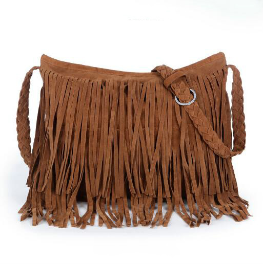 6 colors European fashion new retro fringed handbags quality matte leather shoulder bag casual woven flowers
