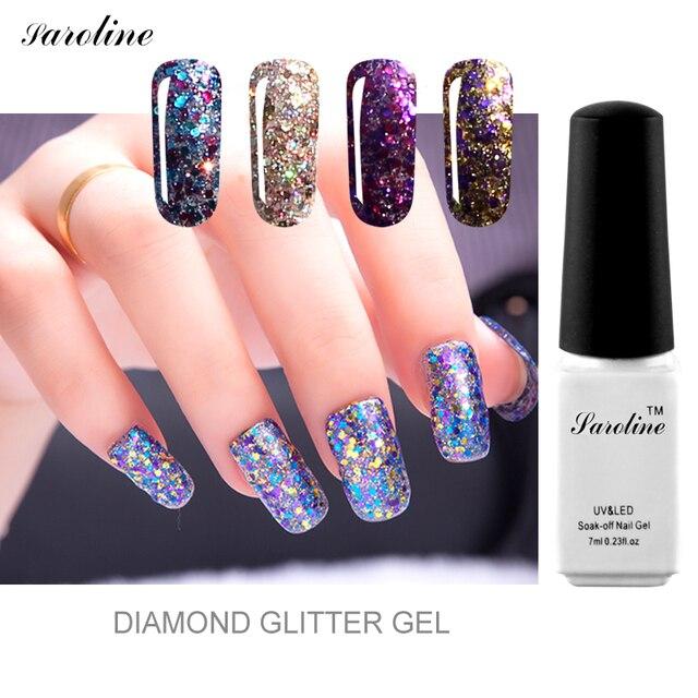 Saroline 3d Diamond Glitter Color Gold Sequins Gel Varnish soak off ...