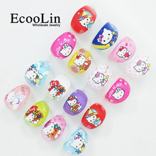 10Pcs Hello Kitty Resin Plastic Rings KT Cartoon Ring For Lovely Children Kid Boys Girls Jewelry Mixed Lots BK401