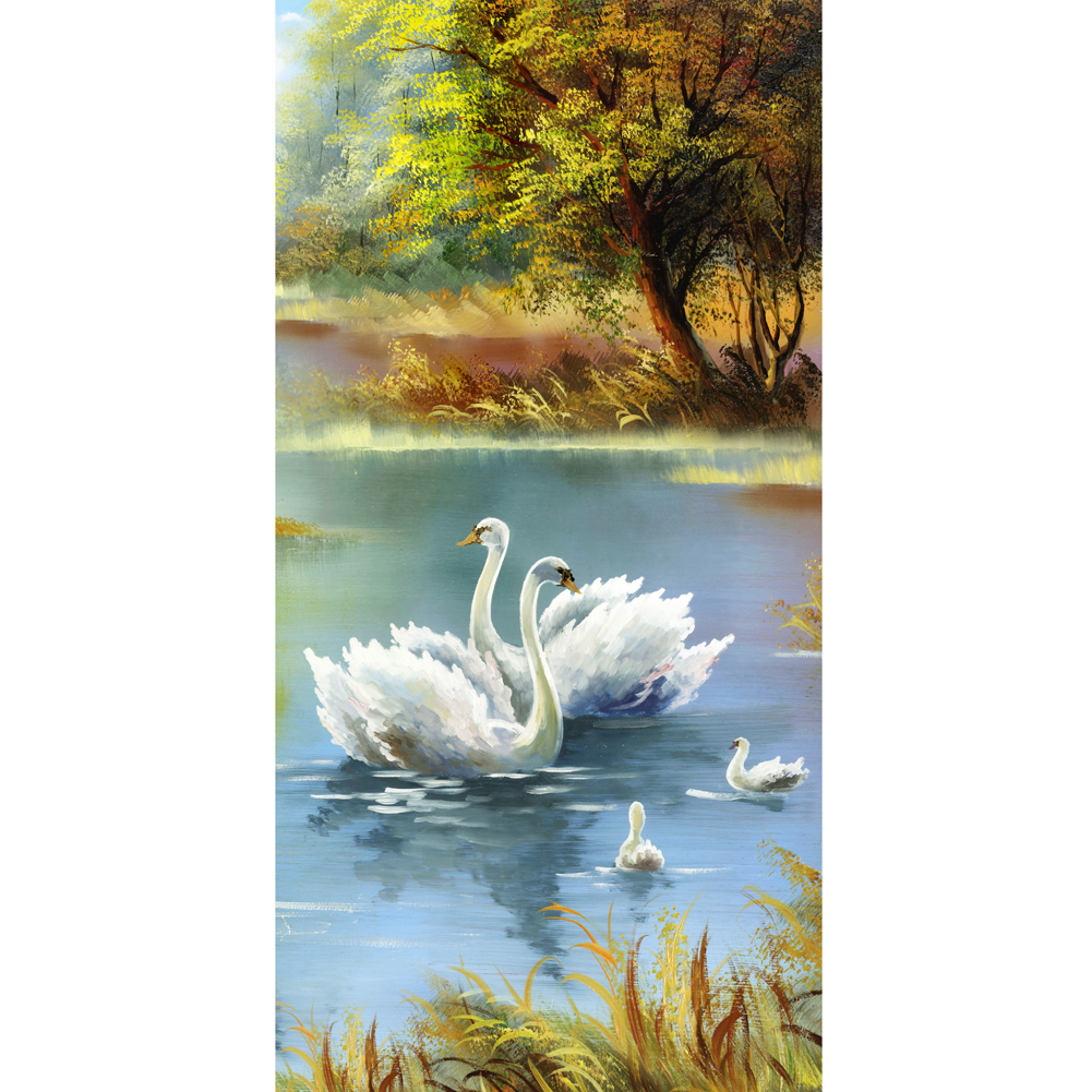 30 56c DIY Crystal 5D Diamond Painting Diamond Embroidery Swan Lake font b Animals b font