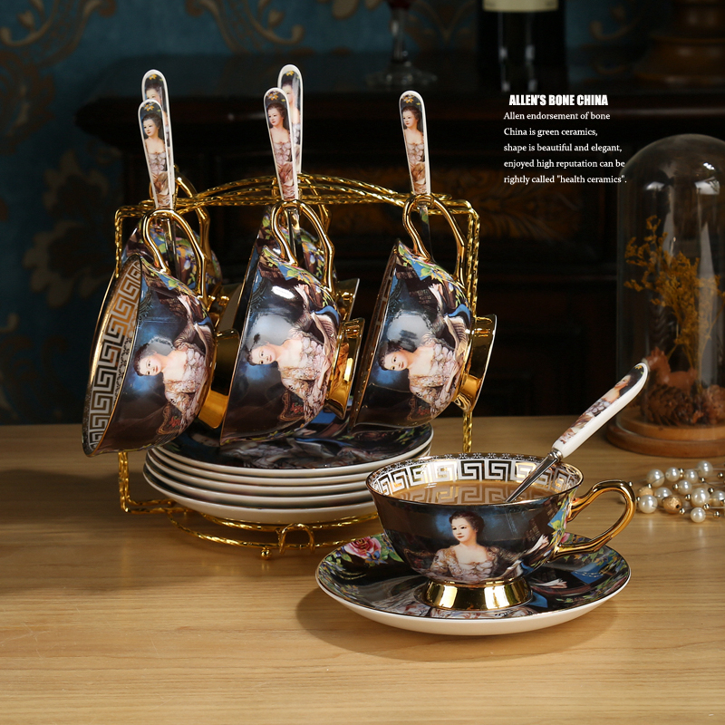 Top-grade British Vintage Bone China Coffee Cups Set Court Figure Painting Creative  Porcelain Tea Cup Set Afternoon Tea Party