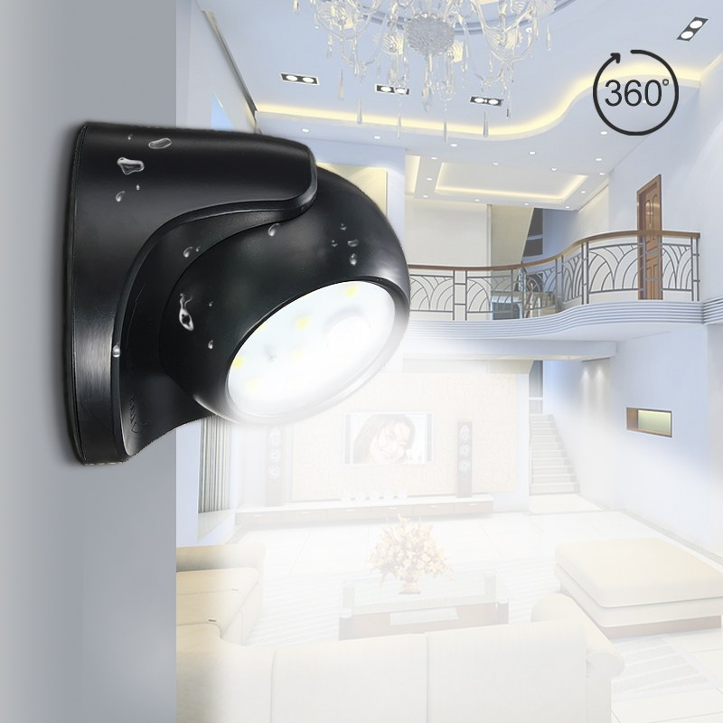 360 Degree Rotation Security 9 LED Led Motion Sensor Night Light Children's Nightlight Auto PIR Detector Lamp Wall Lamp jmkmgl led motion sensor nightlight wireless led wall lamp induction energy saving led sensor light fixtures sticked anywhere