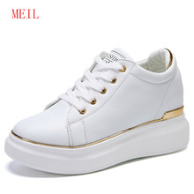 Spring Sneakers Women Wedge Platform White Shoes Ladies Casual Shoes Hidden Heels Wedges Platform Sneakers Designer Shoes цена